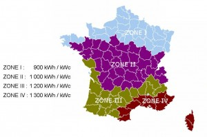 photovoltaics - solar radiation map for France